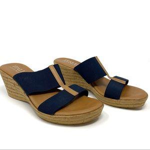 Italian Shoemakers Brown & Navy Wedge Sandal